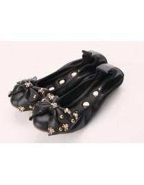 Балетки с черепами черные, , 3 200 р., 048, , Обувь