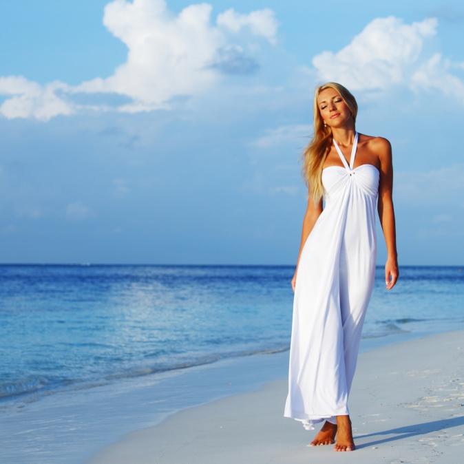 Фото девушек в летних платьях длинных